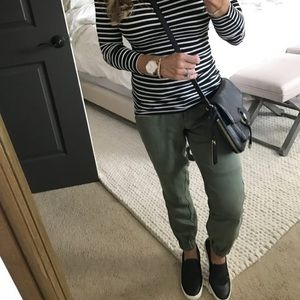 LOFT Pants - Army green joggers with tie waist